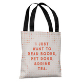 Read Books Pet Dogs Drink Tea - Peach Tote Bag by OBC Tote Bag
