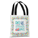 All Things with Love - White Multi Tote Bag by Pen & Paint Tote Bag