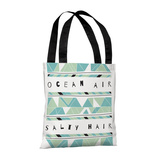 Ocean Air Salty Hair Mint - 18' Polyester Tote by Susan Claire Tote Bag by Susan Claire