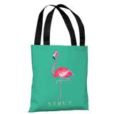 Flamingo Strut - Teal Pink - Teal Pink Tote Bag by lezleelliott Tote Bag by lezleeliott