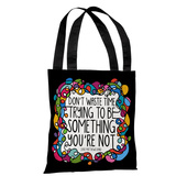 Don't Waste Time - Black Multi Tote Bag by Pen & Paint Tote Bag