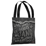 Secrets in the Sand - Gray White Tote Bag by Lily & Val Tote Bag by Lily & Val