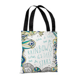 When it Rains BlueMulti - 18' Polyester Tote by Susan Claire Tote Bag by Susan Claire