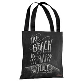 Beach is My Happy Place - Gray Multi Tote Bag by Lily & Val Tote Bag by Lily & Val