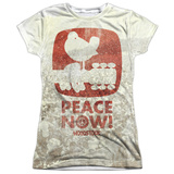 Juniors: Woodstock- Peace Now Distressed Stamp Womens Sublimated