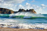 A Curling Wave Breaking at the Beautiful Porthcurno Beach Photographic Print by Helen Dixon