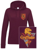 Womens: Harry Potter - House Gryffindor (Slim Fit) Pullover con cappuccio