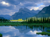 Banff National Park, Alberta Canada: Mount Rundle and Sulphur Mountain Reflecting on Vermillion Lak Photographic Print by Terry Donnelly