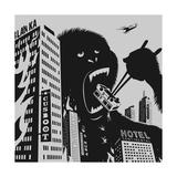 Big Gorilla Destroys City Posters by Evgeny Bakal