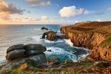 Evening Light across the Land's End Peninsula at Land's End, Cornwall Photographic Print by Helen Dixon