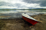 Boats on Beach of Lake Flaten Near Torsby in Varmland County Sweden Photographic Print by Jason Lindsey