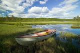 Boat on Lake Bredsjon Near Torsby in Varmland County Sweden Photographic Print by Jason Lindsey