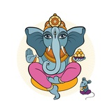 Ganesha and Mouse Art by Katya Ulitina