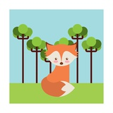Cute Fox Animal over Landscape. Colorful Design. Illustration Prints by Giuseppe Ramos