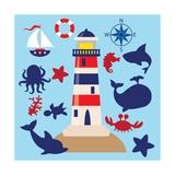 Sea Animal,Sea Horse,Jellyfish,Crab,Vector,Cartoon,Illustration Poster af Svetlana Peskin