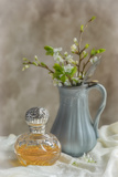 Antique Perfume Bottle with Antique Jug Filled with Spring Blossom Photographic Print by Amd Images