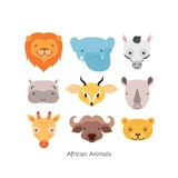 Cute African Animal Portrait Set with Flat Design. Illustration Prints by Kovacs Ferenc