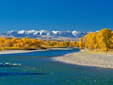 Fall Colors Along the Yellowstone River Below the Absaroka Mountains Near Springdale, Montana Photographic Print by John Lambing