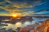 View from Alstrom Point to Lake Powell, Sunrise, Bigwater Photographic Print by Klaus-Peter Wolf