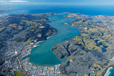 Dunedin and Otago Harbour, Otago, South Island, New Zealand - Aerial Photographic Print by David Wall