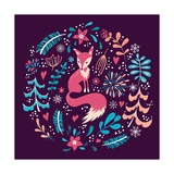 Fox with Winter Flowers and Snowflakes Posters by Lidiia Snitsar