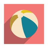 Flat with Shadow Icon and Mobile Application Beach Ball Prints by Anton Gorovits