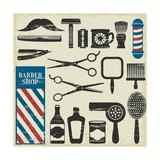 Vintage Barber Shop Tools Silhouette Icons Posters by Aleksandra Novakovic