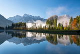 Totes Gebirge, Dead Mountains Range with Reflections, Upper Austria Photographic Print by Klaus-Peter Wolf