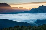 Dawn over Monte Cristallo and Cortina D'Ampezzo from Cinque Torri, Dolomite Mountains, Italy Photographic Print by David Noton