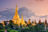 Yangon, Myanmar View of Shwedagon Pagoda at Dusk Photographic Print by Sean Pavone