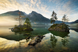 Lake Hintersee, Mountain, Lake, Alps, Water, Morning, Atmosphere, Islands Photographic Print by Mark Ostermayr