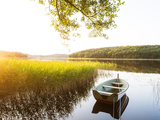 Moored Boat Reflection on Lake Photographic Print by Mikael Svensson