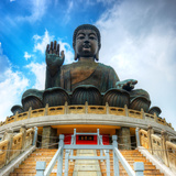 Tian Tan Buddha (Great Buddha) Is a 34 Meter Buddha Statue Located on Lantau Island in Hong Kong Photographic Print by Sean Pavone