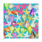 Multicolored Seashells and Sea Stars on a Light Blue Poster by Gaspar Avila