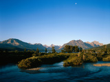 Moon over St. Mary River and Mountains,Glacier National Park, Montana, USA Photographic Print by John Reddy