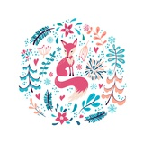 Fox with Winter Flowers and Snowflakes Prints by Lidiia Snitsar