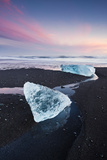 Iceland, Jökulsarlon, Beach, Ice, Atmosphere, Colour, Blue, Water Photographic Print by Mark Ostermayr