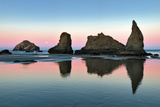 Low Tide at Bandon Beach with Full Moon Set. Oregon Photographic Print by Dennis Frates