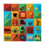 Music Flat Icons Set Posters by Yulia Ryabokon