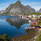 The Spectacularly Sited Town and Harbour of Reine in the Western Lofoten Islands in Norway Photographic Print by Steve Taylor