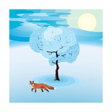 Winter Landscape with Frozen Tree and Red Fox Hanging Around Print by Imre Sandor