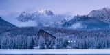 Strbske Pleso Lake and Mountains in Winter Snowfall, High Tatras, Slovakia, Europe Photographic Print by Adam Burton
