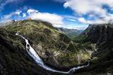 Waterfall with the Trollstigen Serpentine Mountain Road, Trollstigen Pass Road, Andalsnes Photographic Print by Klaus-Peter Wolf