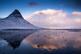 Winter at Kirkjufell Mountain on the Snaefellsnes Peninsula in Iceland Photographic Print by Tracey Whitefoot