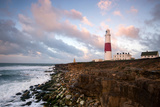 Sunrise at Portland Bill Lighthouse, Dorset England UK Photographic Print by Tracey Whitefoot