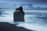 Waves Breaking on Reynisfjara with Reynisdranger Beyond, Iceland Photographic Print by David Noton