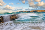 Waves Breaching over Breakwater Photographic Print by Helen Dixon