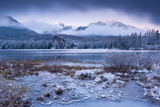 Winter Snow and Ice at Strbske Pleso in the High Tatras, Slovakia, Europe. Winter 2012 Photographic Print by Adam Burton