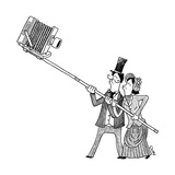 Two Victorians take a selfie with an antique camera. - New Yorker Cartoon Premium Giclee Print by Tom Chitty