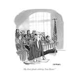 """""""My client pleads celebrity, Your Honor."""" - Cartoon Regular Giclee Print by Pat Byrnes"""